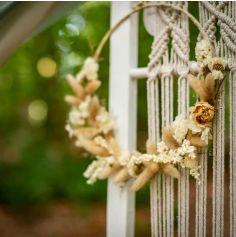 Couronne de fleurs séchées - 28 cm - Beige