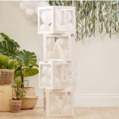 4 Cubes Carton et Plastique - Blanc