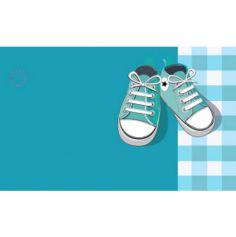 10 Étiquettes Porte-Noms Garçon - Motif Baskets - Bleu