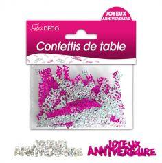 """Confettis pailletés """"Joyeux Anniversaire"""" - Rose et argenté"""