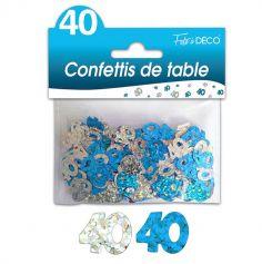 """Confettis pailletés d'anniversaire """"40 ans"""" - Turquoise et argenté"""