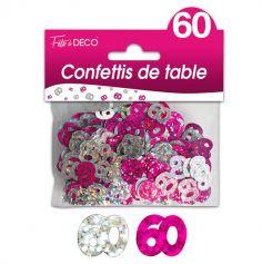 """Confettis pailletés d'anniversaire """"60 ans"""" - Rose et argenté"""