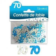"""Confettis pailletés d'anniversaire """"70 ans"""" - Turquoise et argenté"""