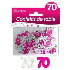 """Confettis pailletés d'anniversaire """"70 ans"""" - Rose et argenté"""