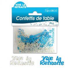 """Confettis pailletés """"Vive la retraite"""" - Turquoise et argenté"""