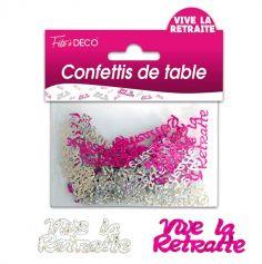 """Confettis pailletés """"Vive la retraite"""" - Rose et argenté"""