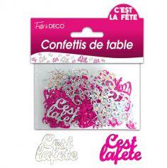 """Confettis pailletés """"C'est la fête"""" - Rose et argenté"""