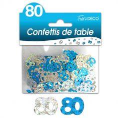 """Confettis pailletés d'anniversaire """"80 ans"""" - Turquoise et argenté"""