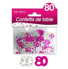 """Confettis pailletés d'anniversaire """"80 ans"""" - Rose et argenté"""