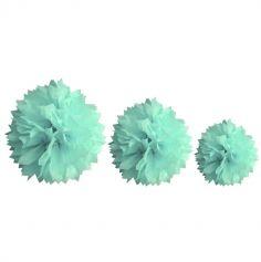 Décoration Pompon Vert d'Eau - Assortiment de 3 tailles