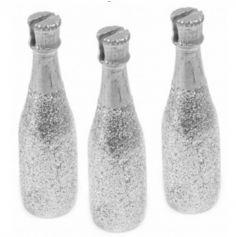 Sachet de 3 Marque-Places Bouteille de Champagne - Argent
