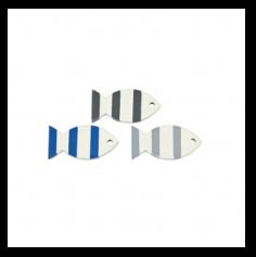 Sachet de 6 poissons décoratifs en bois - bleu