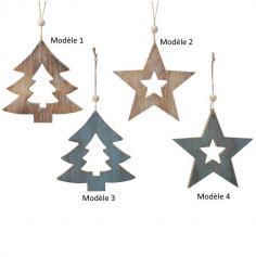 Décoration à Suspendre de Noël - 18 x 18 cm environ - Etoile ou Sapin - Bois ou Bleu - Modèle au Choix