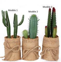 Décoration - Cactus en plastique dans Pot de Jute - 5 x 5 x 15 cm - Modèle au Choix