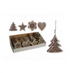 Décoration de Noël à suspendre en Bois - Lumineux - 12 x 3 cm - Modèle au Choix