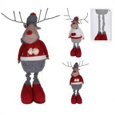 Décoration de Noël - Élan debout avec jambes extensibles - 85 cm - Couleur au Choix