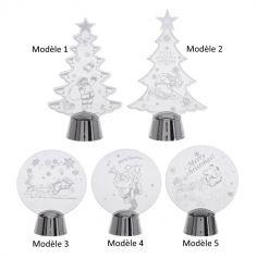 Décoration de Noël Lumineux à LED avec support argenté -  Modèle au Choix