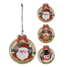 Décoration de Noël ronde à suspendre lumineuse  - Merry Christmas - Modèle au Choix