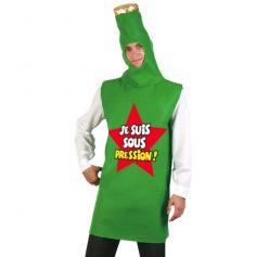 costume en forme de bouteille de bière, inscription je suis sous pression