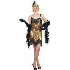 Déguisement Charleston Robe Dorée - Femme - Taille au choix