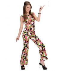Déguisement Femme Disco Combinaison Framboise Verte - Taille au Choix
