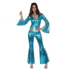 Combinaison Disco Bleue Métallisée Femme