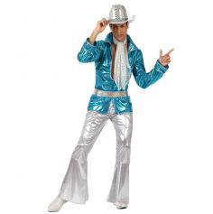 Costume Disco Bleu Métallisé Homme
