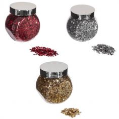 Bocal de confettis de Table - Décoration de Noël - Petites Etoiles - Couleur au Choix