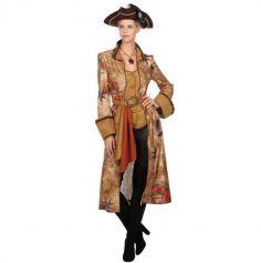 Déguisement Femme - Manteau de Pirate - Carte au Trésor - Taille au Choix | jourdefete.com