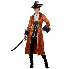 Déguisement Femme – Manteau de Pirate – Orange – Taille au Choix | jourdefete.com