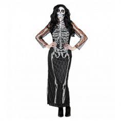 Déguisement Robe de Squelette en dentelle pour femme - Taille au Choix