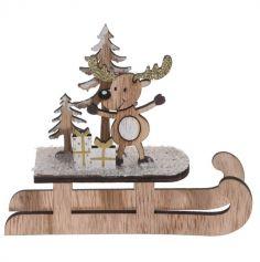Décoration à Poser Noël - Bois - Luge - Renne et Cadeaux | jourdefete.com