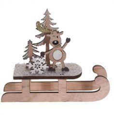 Décoration à Poser Noël - Bois - Luge - Renne et Flocon | jourdefete.com