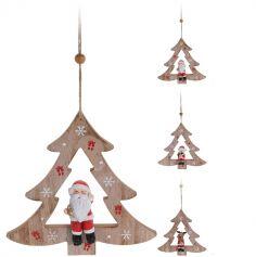 Suspension Noël - Bois - Personnage dans un Sapin - Modèle au Choix