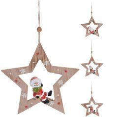 Suspension Noël - Bois - Personnage dans une Etoile - Modèle au Choix