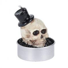 6 Bougies Chauffe-Plat - Crâne avec Chapeau Haut de Forme