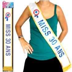 """Écharpe """"Miss 30 Ans"""" Bleue"""