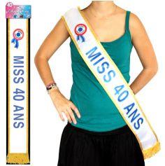 """Écharpe """"Miss 40 Ans"""" Bleue"""