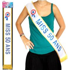 """Écharpe """"Miss 50 Ans"""" Bleue"""
