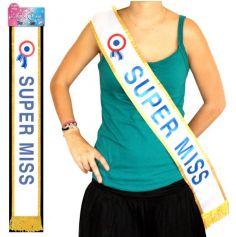 """Écharpe de Miss """"Super Miss"""" Bleue"""