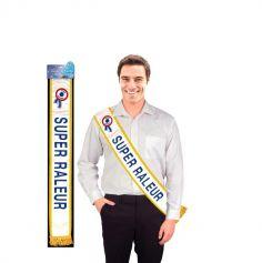 """Echarpe de Mister """"Super Râleur"""" Bleue"""