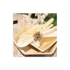 6 Assiettes carrées en palmier - 17 cm