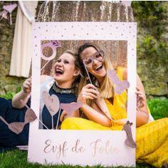 Kit Photobooth avec son Cadre et ses 12 Pièces - EVJF de Folie - Rose Gold