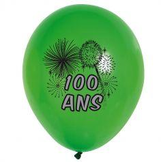 10 Ballons de Baudruche multicolore 100 ans