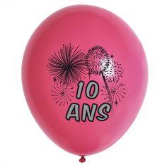 10 Ballons de Baudruche Multicolore Anniversaire 10 ans