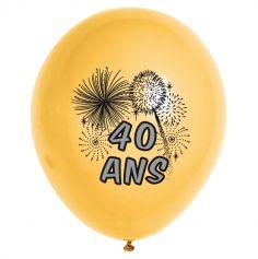 10 Ballons de Baudruche Multicolore Anniversaire 40 ans