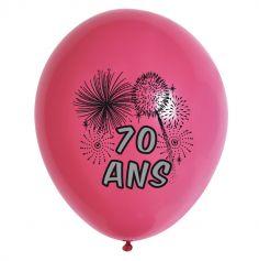 10 Ballons de Baudruche Multicolore Anniversaire 70 ans