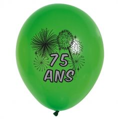 10 Ballons de Baudruche multicolore 75 ans