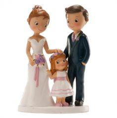 Figurines pour gâteau de mariage - Couple de Mariés avec Fille ou Garçon au choix