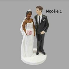 Figurines pour gâteau de mariage - Couple Mixte - Modèle au Choix